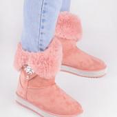 Женские зимние угги розового цвета