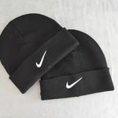 Теплая зимняя шапка NIKE, черная стильная 2018