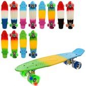 Скейт пенні, пласт-антиковз.,алюм. підвіски, колеса ПУ, підшип., 6 кольорів, світло