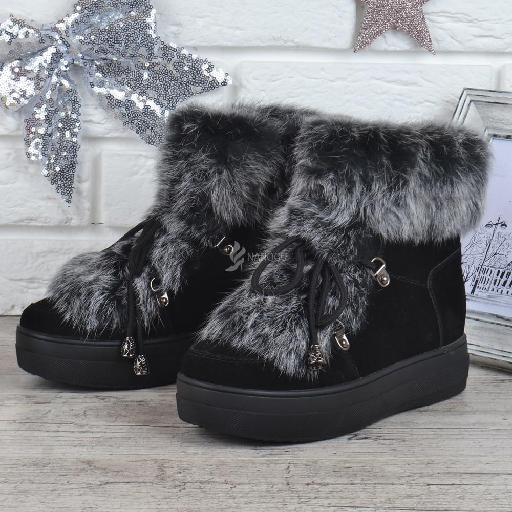 Полностью натуральные ботинки замшевые овечья шерсть на платформе женские зимние rosso опушка кролик фото №1