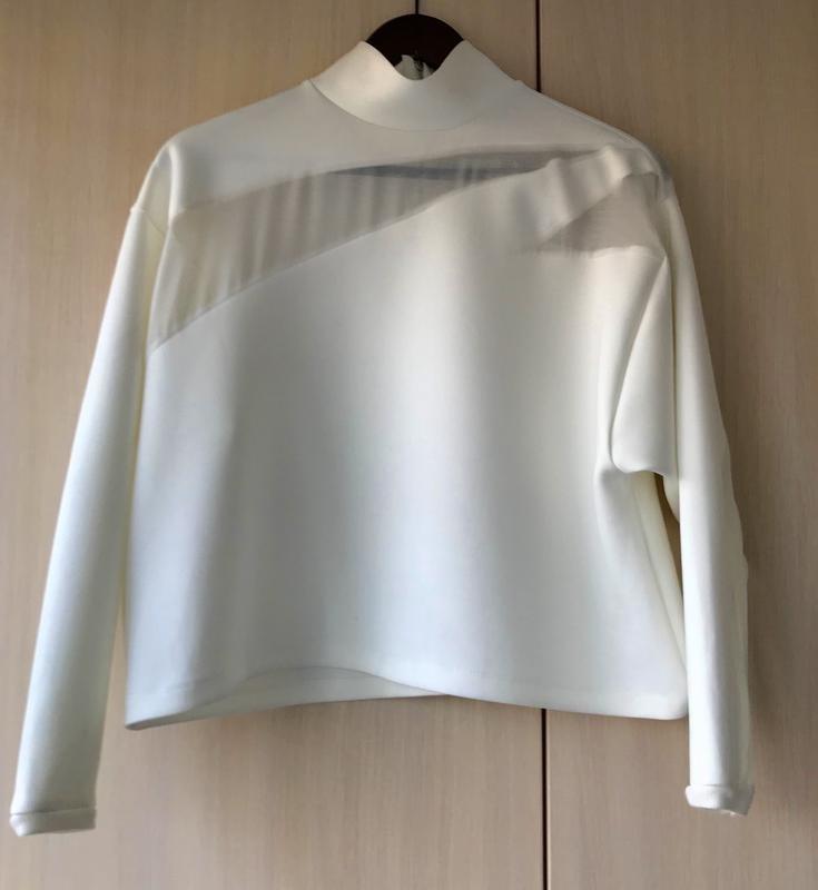 Роскошный белый свитшот с шифоновыми вставками zara s,  m фото №1