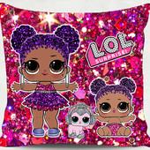 Подушка принт кукла Лол dolllol lol glitter блестящая долллол лол сюрприз