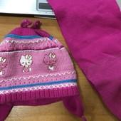 Шапочка+шарфик  0-2лет двойная вязка