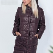 Зимняя удлиненная куртка шоколад пудра