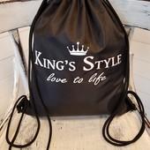 Рюкзак-мешок на затяжках из ткани Оксфорд в цветах.
