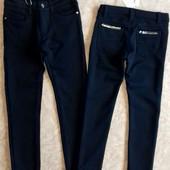 Отличные теплые темно-синие брюки для девочек 116-158р