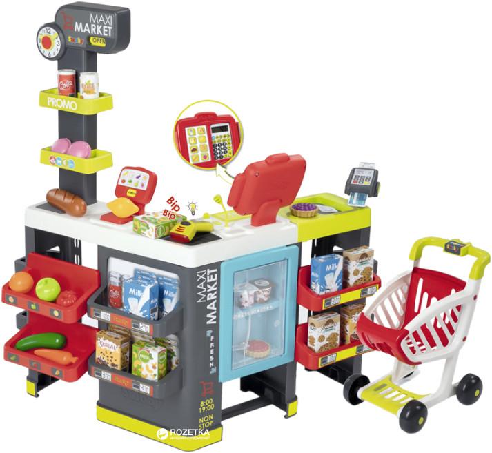 Интерактивный супермаркет smoby toys maxi market со звуковыми эффектами, тележкой и аксессуарами фото №1