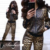 Женский стильный леопардовый костюм