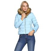 Женская модная укороченная курточка, капюшон не отстегивается, украшен экомехом, р. 40-46