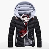 Мужская куртка - Мужская осенняя куртка, резинки на рукавах, капюшон отстегивается, на молнии, 48-50