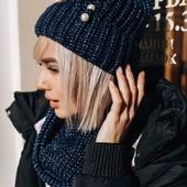 Женский теплый набор шапка и хомут