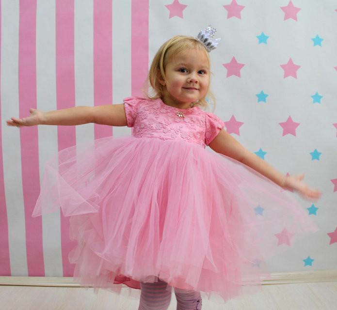 Платье для девочки юбка фатин размер 98-128 тм зіронька роз, бел, лаванда фото №1