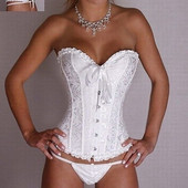 Красивый белый корсет,р-р XL на наш 48-52,с рюшами и вышивкой,сток