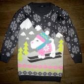 Туника,свитер в новогоднем стиле George на 8-9лет(128-134см).