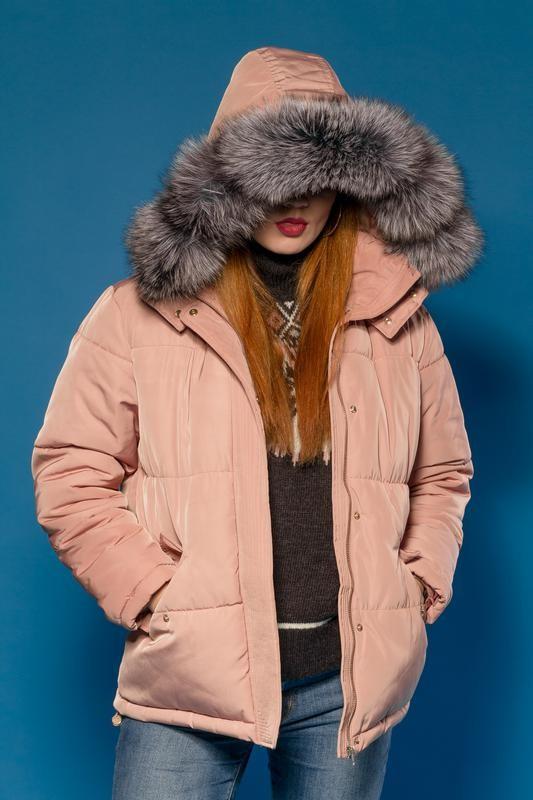 Куртка шикарная парка-пуховик модель 2018. капюшон- фин. чернобурка есть размеры h&m фото №2