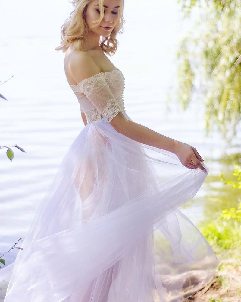 Будуарное платье ручной работы. р-р s фото №1