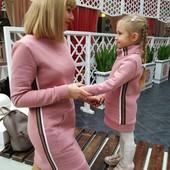 Тепленькое платье для мамы и дочки Family Look Фемили Лук
