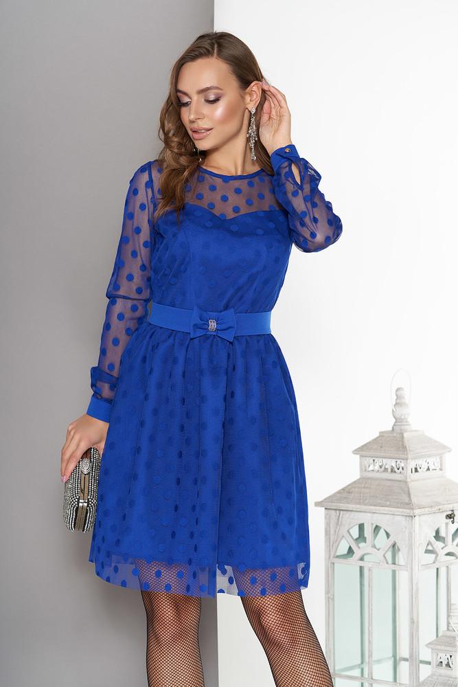 Нарядное двухслойное платье в горох: разные цвета фото №1