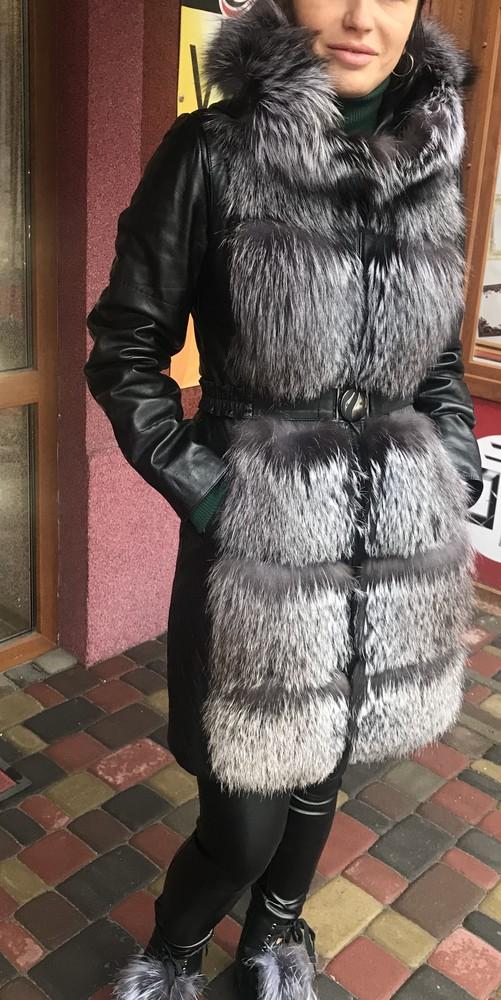 Куртка трансформер з мехом чернобурки фото №1