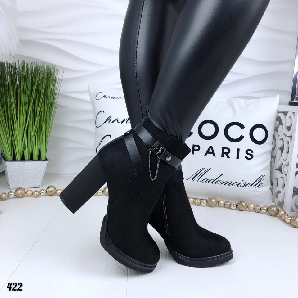 Код 422  ботиночки зима.  цвет- черный. материал- эко замш. фото №2