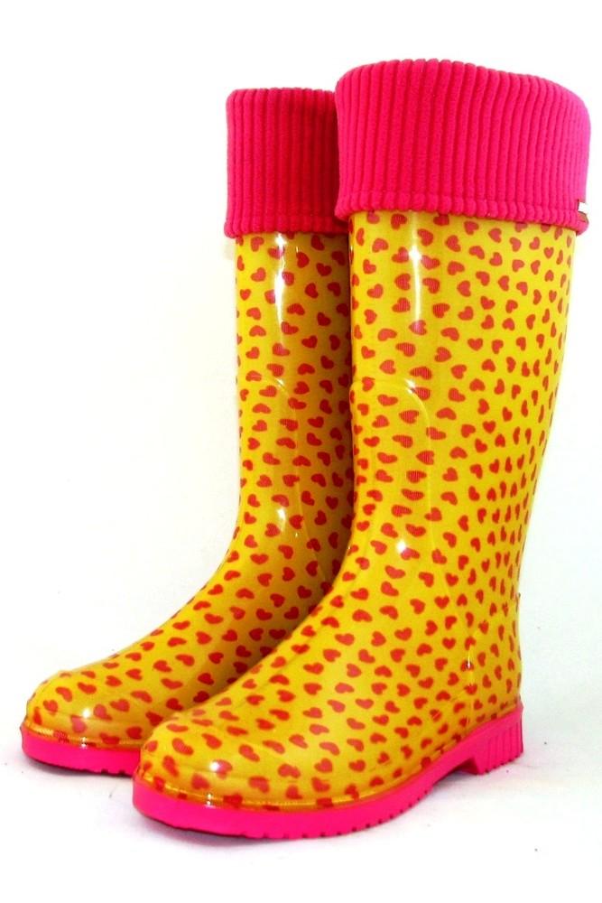 """Женские резиновые сапоги утеплённые съёмный носком """"мини сердечки желтые"""" фото №1"""