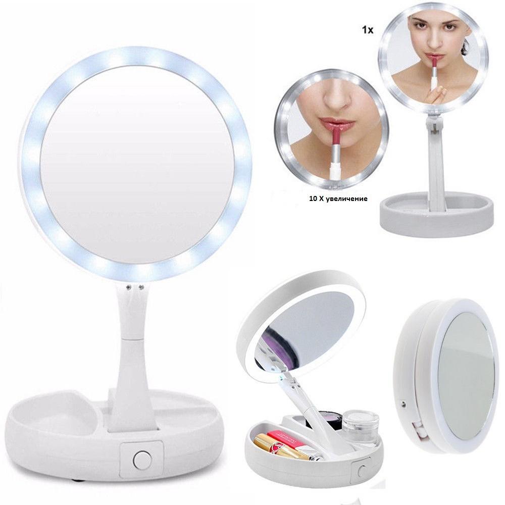 Складное косметическое зеркало mirror с подсветкой led и увеличением х10 фото №1