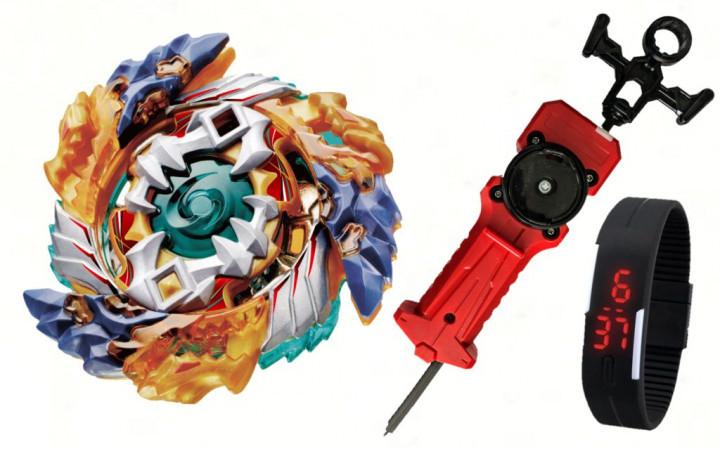 Beyblade geist fafnir f4 b-122 (волчок бейблейд фафнир ф4 в 122) с пусковым устройством меч + часы фото №1