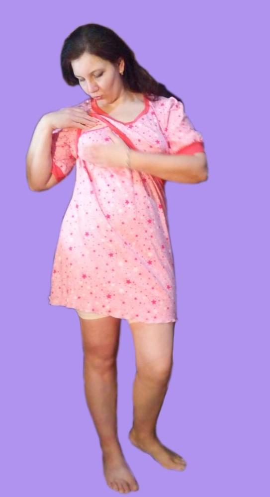 Ночнушка/ халат из плотного хлопка для кормященй или беременной мамочки 50-52-54 фото №1