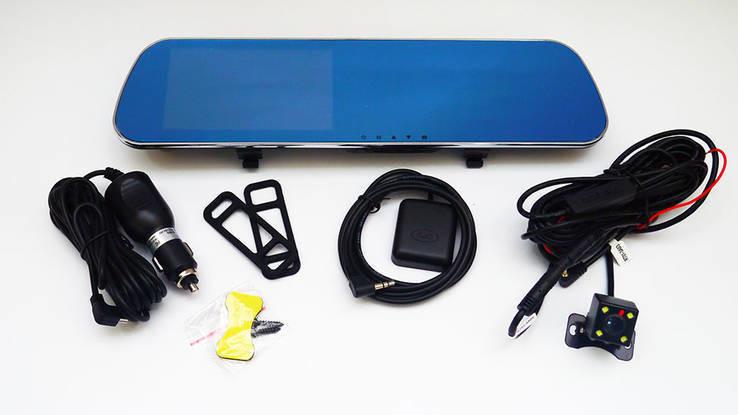 "D22 зеркало регистратор, 5"" сенсор, 2 камеры, gps навигатор, wifi, 8gb, android фото №1"