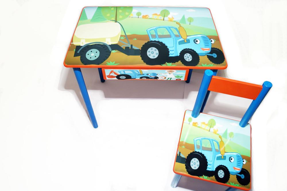 """Детский столик и стульчик """"синий трактор"""" (столик парта с ящичком) от 2 до 7 лет фото №1"""
