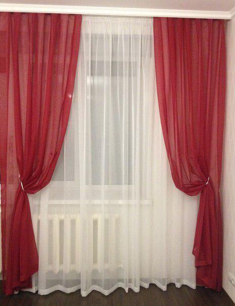 Комплект из тюли и штор. готовые гардины. шифон. фото №1