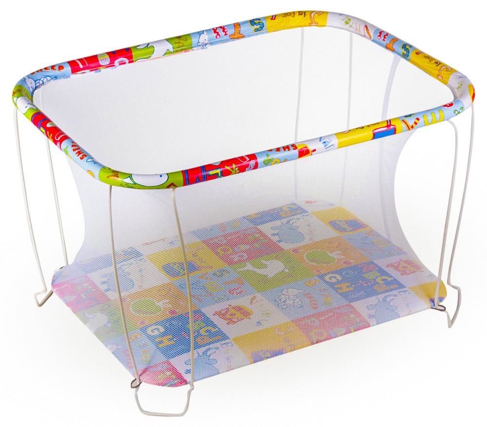 Манеж детский игровой kinderbox классический азбука с мелкой сеточкой (kmk 202) фото №1
