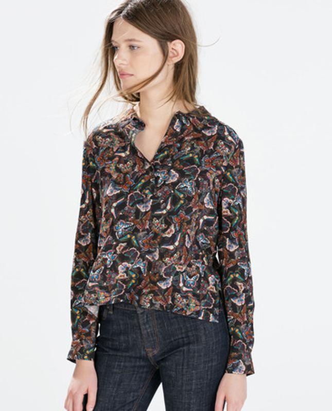 Рубашка принт бабочки zara м фото №1