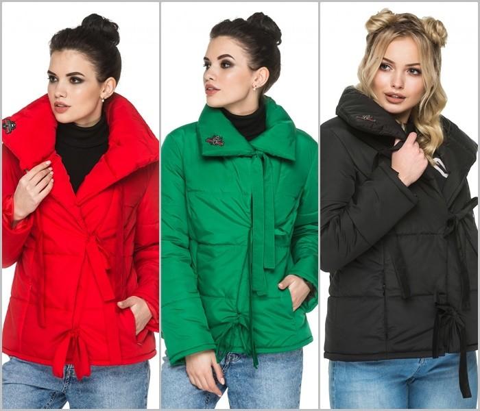 Женская деми куртка с отложным воротом на завязках, деми курточка фото №1