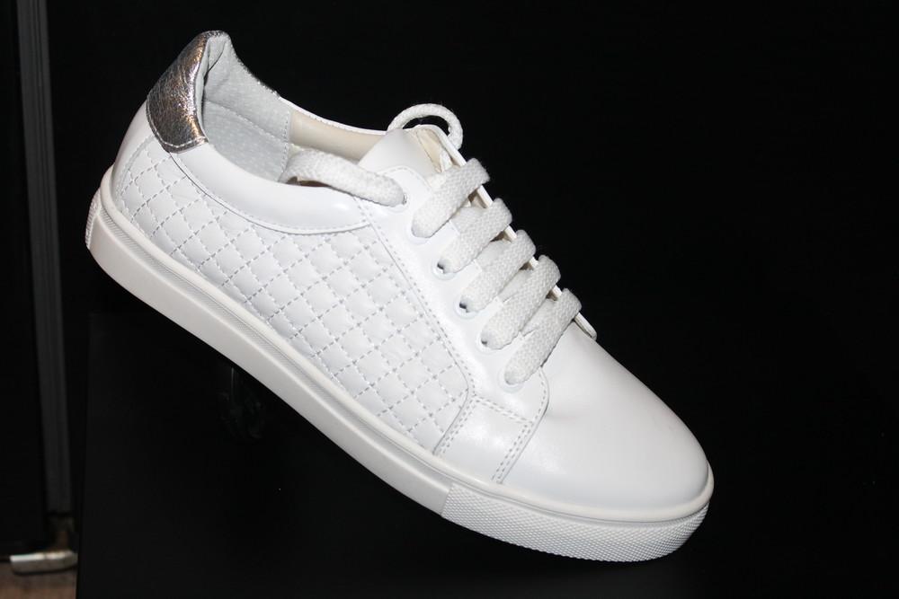 Белые кеды стеганые , кожа натуральная , с 36-41р фото №1