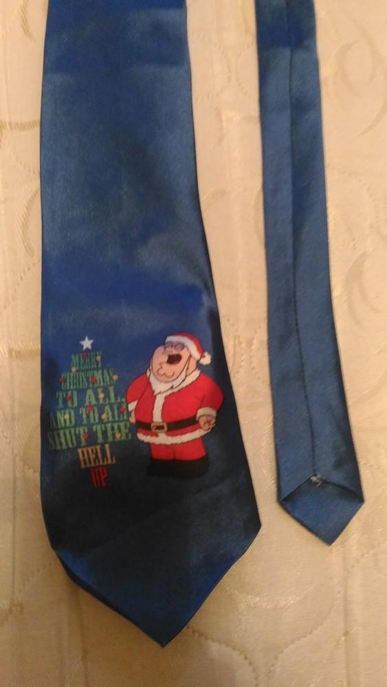 Новогодний галстук с принтом деда мороза фото №1