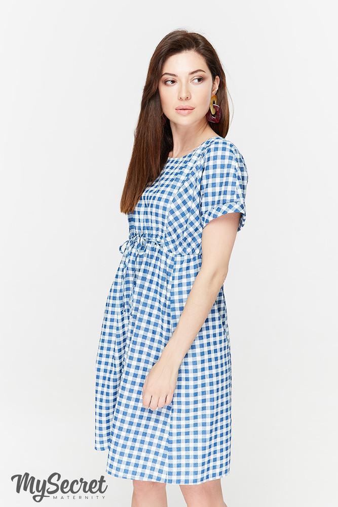 311bca9a2f8476b Летнее платье для беременных и кормящих, джинсово-синее в клетку ...