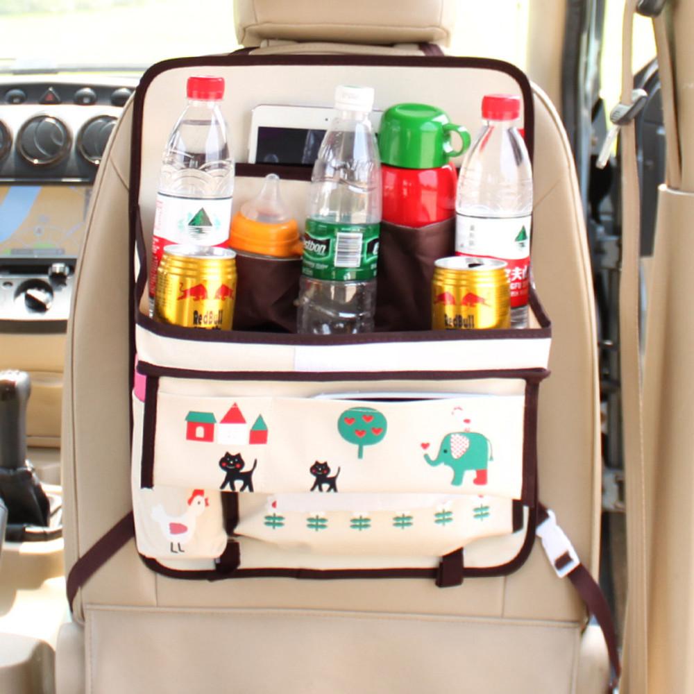 Органайзер в автомобиль с раскладным столиком. детский, бежевый. котик. фото №1