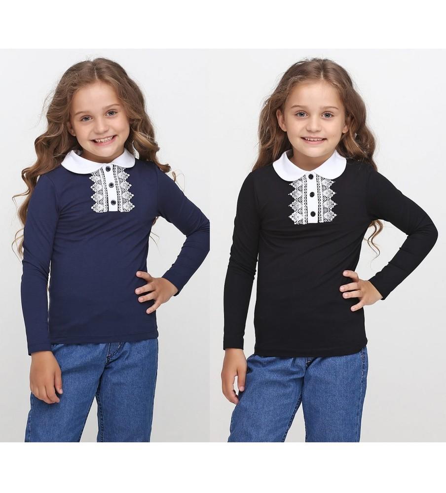Синяя школьная кофта с белым кружевом и воротником для девочки фото №1
