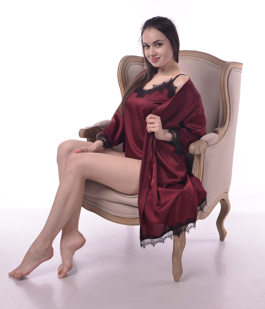 Шелковая пижама, пеньюар и халат из шелка армани с французским кружевом не атлас фото №1