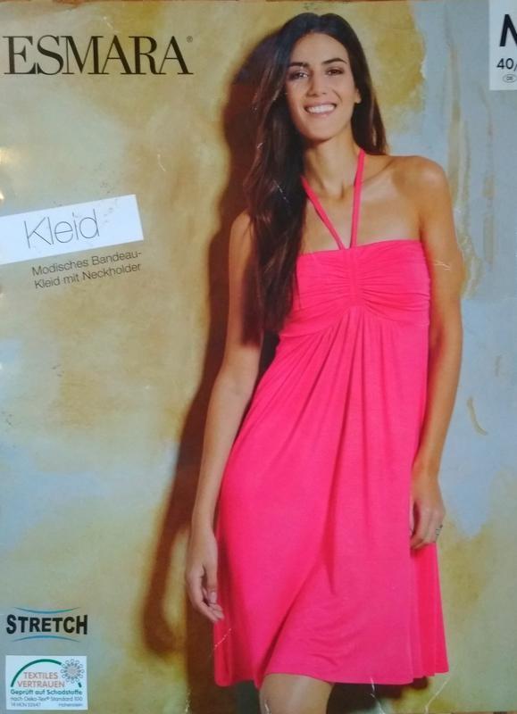 Летнее трикотажное пляжное платье бюстье esmara фото №1