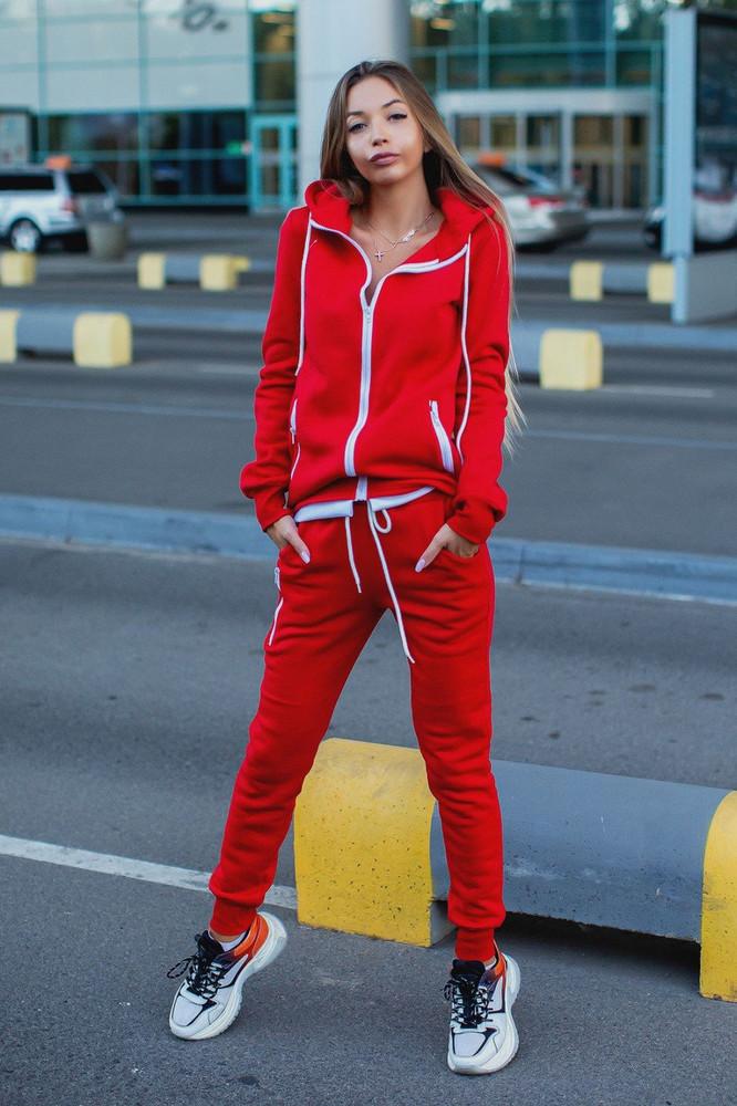 Женский теплый с начесом спортивный прогулочный костюм красный черный фото №1