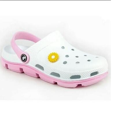 Кроксы белые с розовым, аналог crocs фото №1