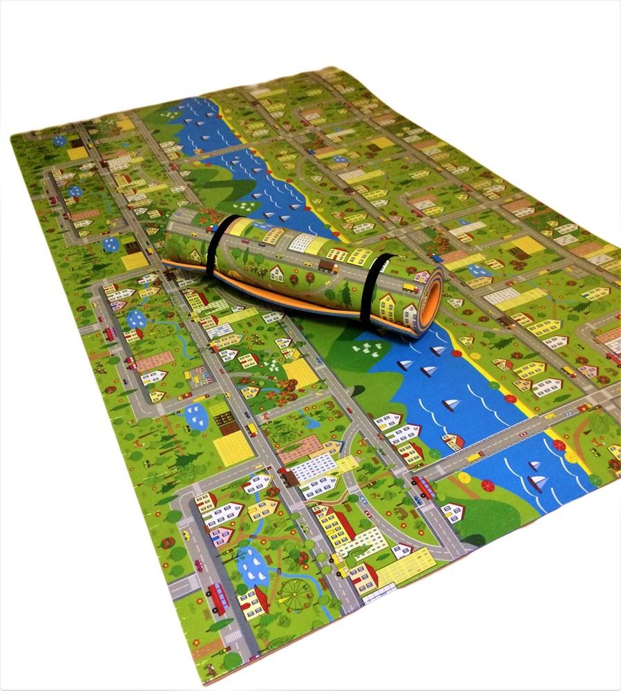 Детский теплоизоляционный развивающий игровой коврик «парковый городок» 2000×1200×11мм фото №1