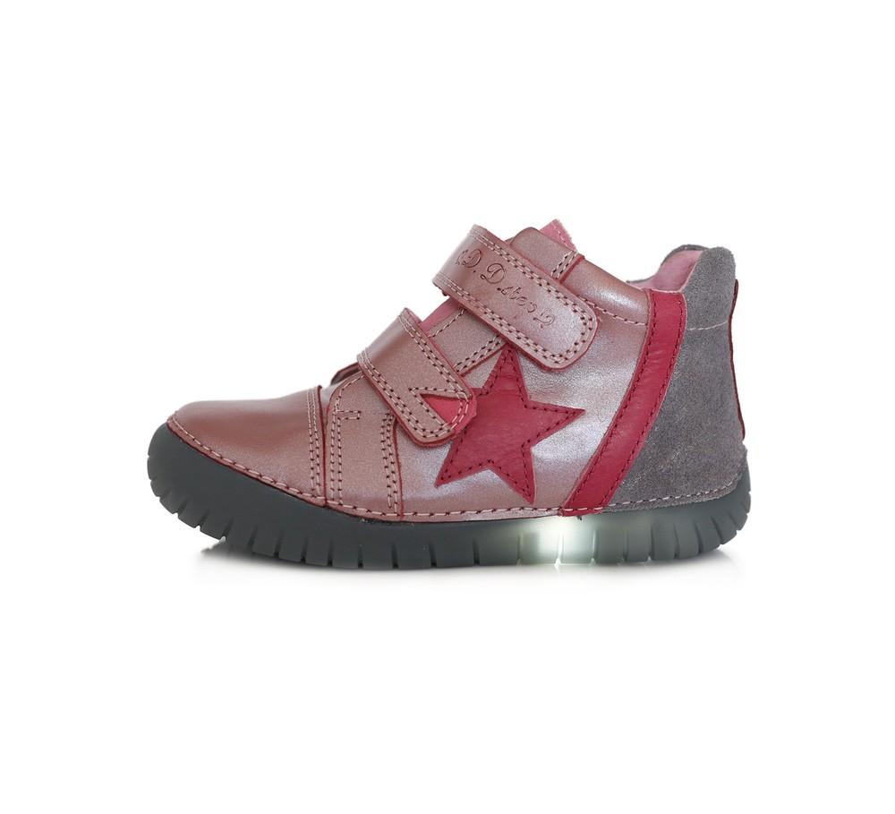 Кожаные ботинки с led подошвой (ассортимент цветов), девочкам фото №1