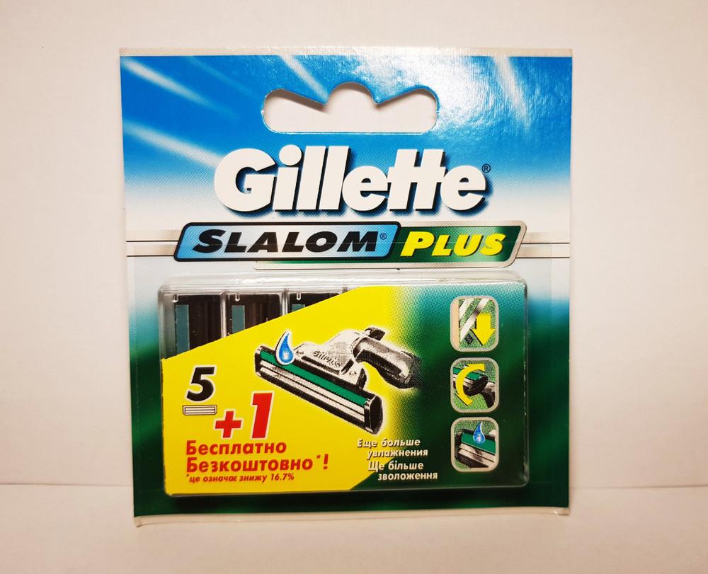 ✅gillette slalom plus слалом плюс кассеты 5 плюс1 шт., лезвия для бритвы оригинальные фото №1
