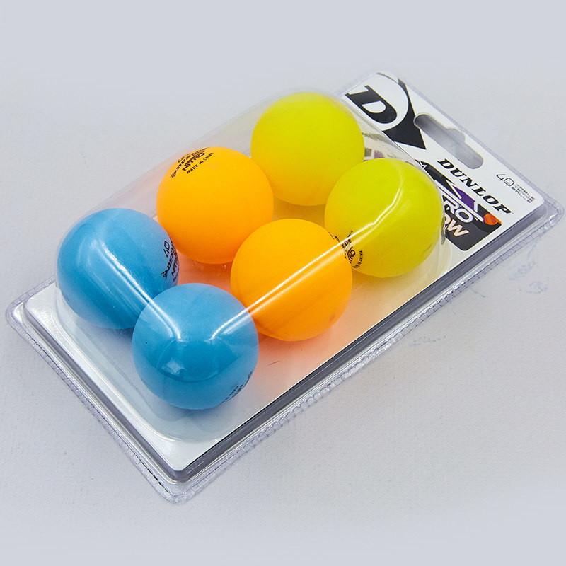 Набор мячей для настольного тенниса dunlop nitro glow 679213: 6 мячей в комплекте фото №1