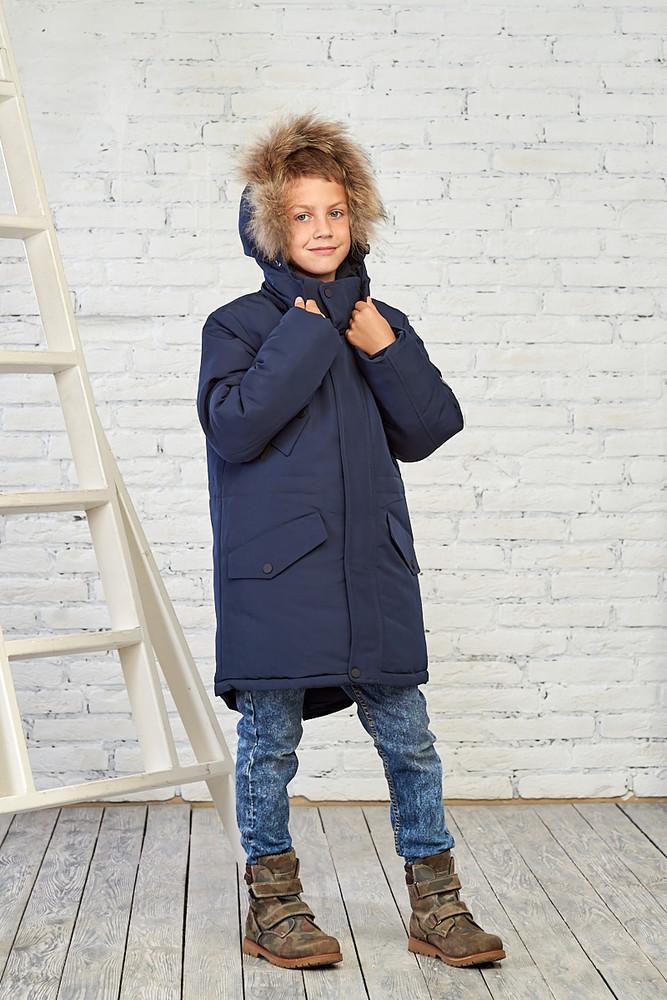 Зимняя куртка на мальчика 12-16 лет, 6-958 (темно-синий) фото №1