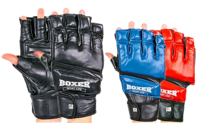 Перчатки для смешанных единоборств кожаные boxer 2018: размер m-xl, 3 цвета фото №1