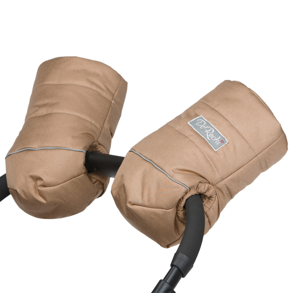 Муфта-рукавиці для рук на коляску на натуральній овчині доречі бежева фото №1